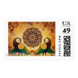 Mandala del sello de dos pavos reales