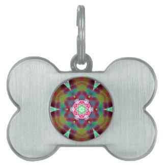 Mandala del sino placa de nombre de mascota