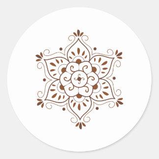 Mandala del tatuaje de la alheña pegatina redonda
