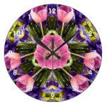 Mandala del tulipán y del iris reloj de pared