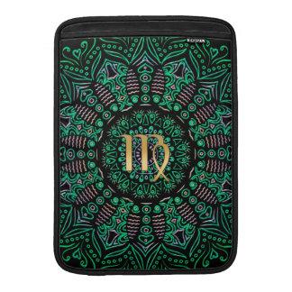 Mandala del verde del virgo de la muestra del funda macbook air