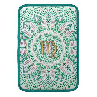Mandala del verde del virgo de la muestra del fundas para macbook air