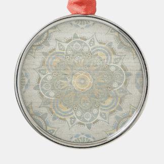 Mandala del vintage adorno navideño redondo de metal