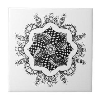 Mandala del zen - diseño de la pluma y de la tinta tejas  cerámicas