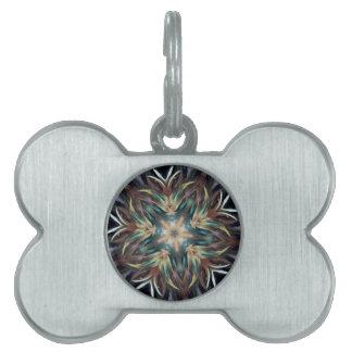 Mandala delicada deliciosa de la pluma placa de nombre de mascota