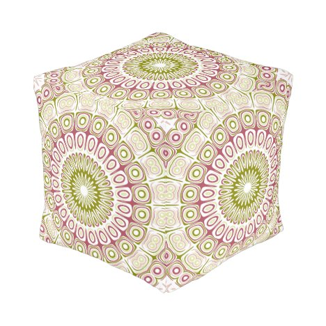 Mandala Design in Rose Pink and Olive Green Pouf