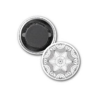 Mandala dibujada mano blanco y negro imán redondo 3 cm