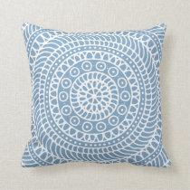 Mandala Doodle Denim Blue Throw Pillow