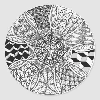 Mandala Drawing in Black and White Classic Round Sticker
