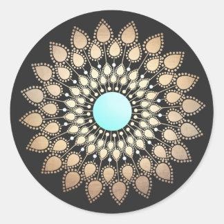 Mandala elegante de la flor de Lotus Pegatina Redonda