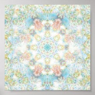 Mandala en colores pastel de la flor póster
