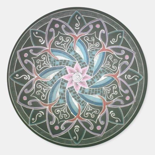 Mandala en las profundidades del mar pegatina redonda