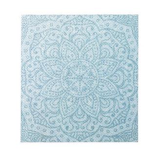Mandala en vaqueros azules claros bloc de notas