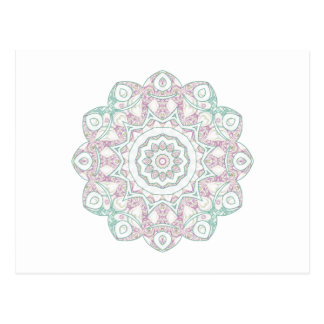 Mandala en verde y rosa de la espuma del mar tarjetas postales