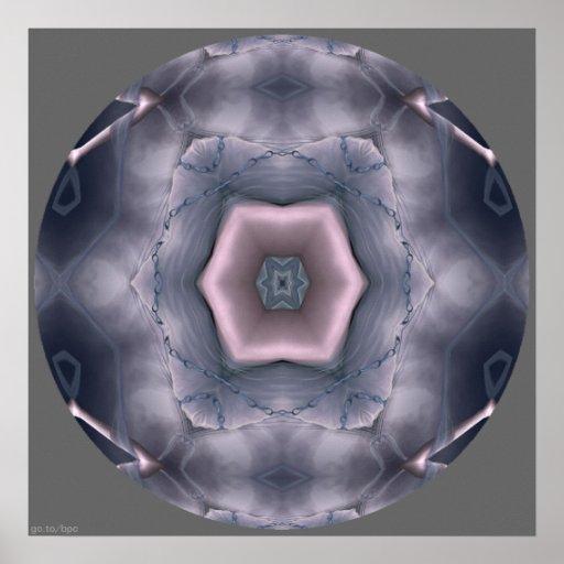 Mandala encadenada del caleidoscopio del vórtice póster