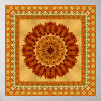 Mandala enmarcada de oro anaranjada del moho póster