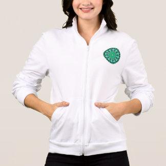 Mandala esmeralda de los cristales, verde menta chaquetas imprimidas