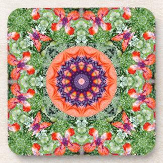 Mandala-estilo floral, amapolas rojas posavasos de bebida