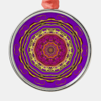 mandala ethnic round metal christmas ornament