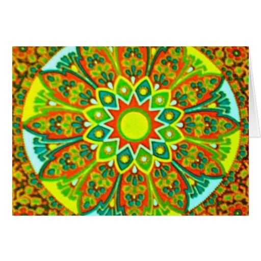 Mandala étnica de la mirada de Earthtone Tarjeta