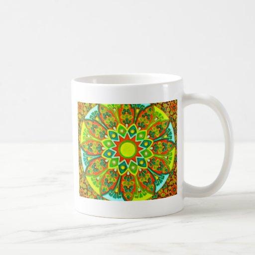 Mandala étnica de la mirada de Earthtone Tazas
