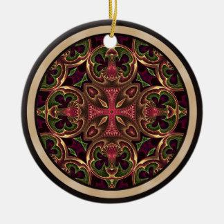 Mandala, extracto cruzado caleidoscópico adorno navideño redondo de cerámica