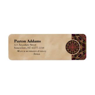 Mandala, extracto cruzado caleidoscópico de la etiqueta de remite