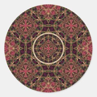 Mandala, extracto cruzado caleidoscópico de la pegatina redonda
