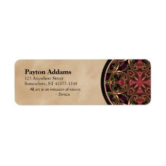 Mandala, extracto cruzado caleidoscópico etiquetas de remite