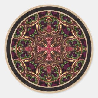 Mandala, extracto cruzado caleidoscópico etiquetas redondas