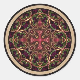 Mandala, extracto cruzado caleidoscópico pegatina redonda