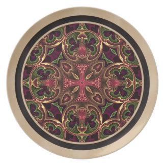 Mandala, extracto cruzado caleidoscópico platos para fiestas
