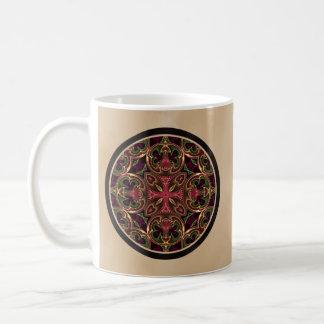 Mandala, extracto cruzado caleidoscópico taza de café