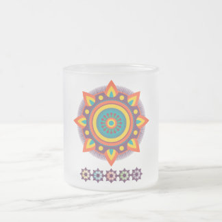 Mandala Flames 10 Oz Frosted Glass Coffee Mug