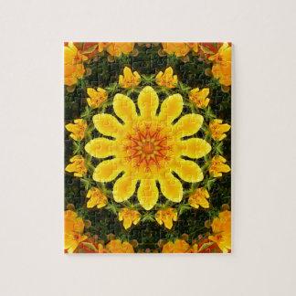 Mandala floral, amapola californiana puzzle
