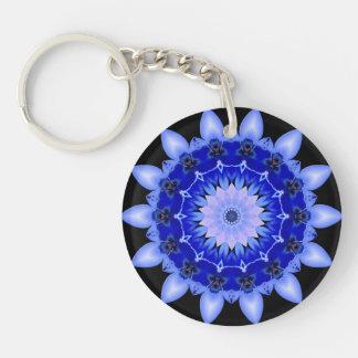Mandala floral azul del caleidoscopio llavero