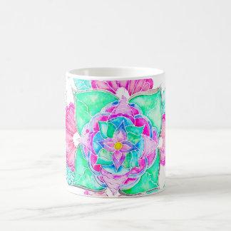 Mandala floral dibujada mano de la acuarela de la taza de café