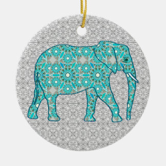 Mandala flower elephant - turquoise, grey & white ceramic ornament