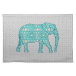 Mandala flower elephant - turquoise, grey & white cloth placemat