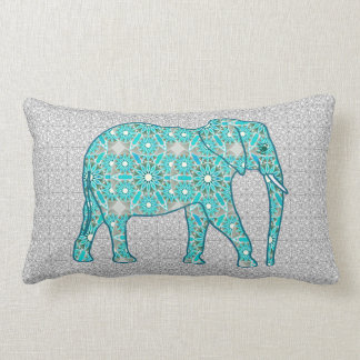 Mandala flower elephant - turquoise, grey & white lumbar pillow