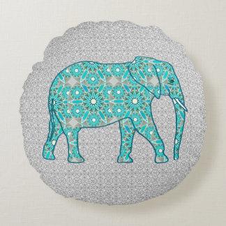 Mandala flower elephant - turquoise, grey & white round pillow