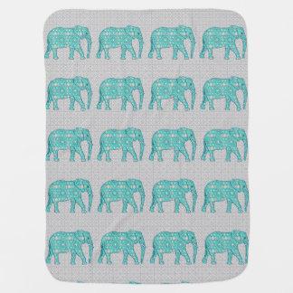 Mandala flower elephant - turquoise, grey & white swaddle blanket