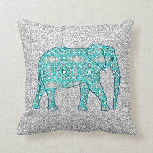 Grey Elephant Throw Pillow : Mandala flower elephant - turquoise, grey & white throw pillow Zazzle.com