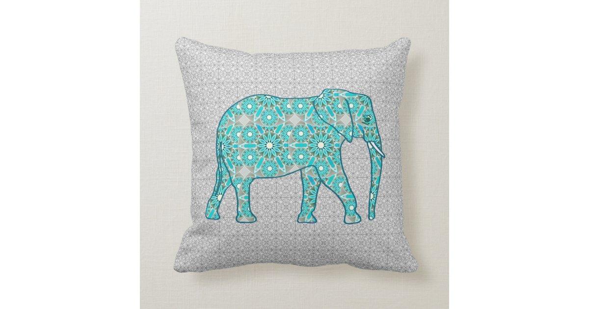 Grey Elephant Throw Pillow : Mandala flower elephant - turquoise, grey & white throw pillow Zazzle