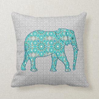 Mandala flower elephant - turquoise, grey & white throw pillow