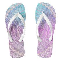 Mandala Flower in Pastel Pink and Light Blue Flip Flops