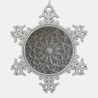 Mandala Flower Stone Pewter Snowflake Decoration Snowflake Pewter Christmas Ornament