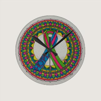 Mandala for Metastatic Breast Cancer Awareness Round Clock
