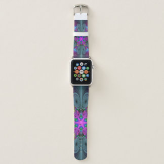 Mandala From Center Colorful Fractal Art With Pink Apple Watch Band