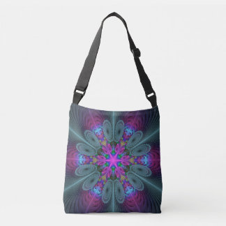 Mandala From Center Colorful Fractal Art With Pink Crossbody Bag